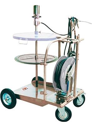 Солидолонагнетатель пневматический (насос 50:1) для бочек 200 кг с усиленной тележкой, катушка H860152,крышка d.600 мм, мембрана d.585 мм, шланг 4м. и