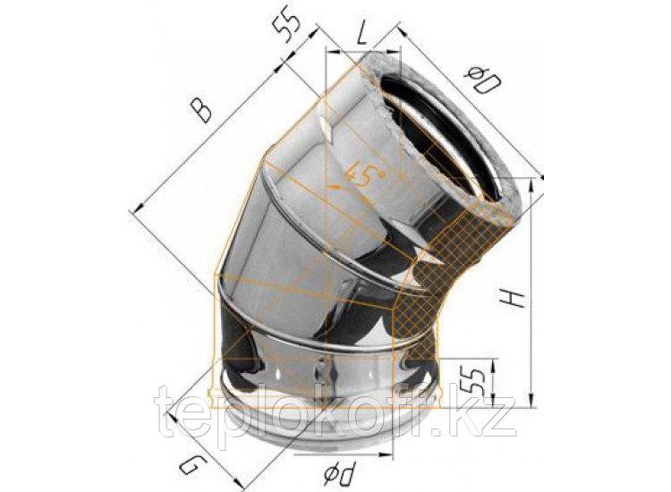 Колено двустенное 135°, по воде D=200/280, AISI 430/430, 0,5/0,5 мм (Феррум)