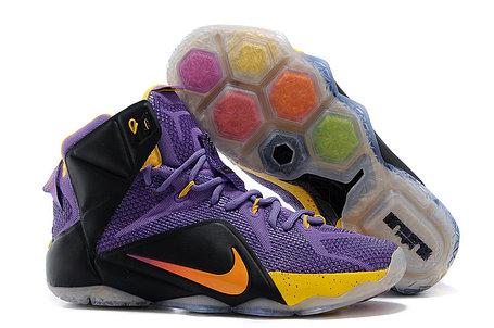 Баскетбольные кроссовки Nike Lebron 12 Purple Black Gold, фото 2
