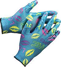 Перчатки GRINDA садовые, прозрачное нитриловое покрытие, размер S-M, синие 11296-S