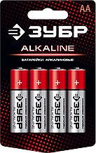 "Батарейка ""ЗУБР"" ""ALCALINE"" щелочная (алкалиновая), ""AA"", 1,5В, 4шт Зубр 59223-4C"