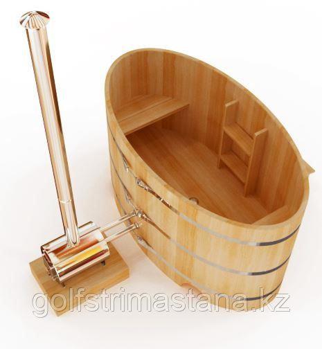 Купель с подогревом ш*д*в 120*180*120 см. / Фурако / из кедра / овальная / с внешней дровяной печкой