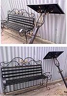 Металлические столы и лавки на кладбище