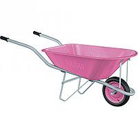 Тачка садовая Pink Line, одноколесная объем 78 л// Palisad