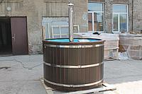 Купель-Фурако из кедра д. 150 см. / круглая / с пластиковой вставкой / внутренняя печь, фото 1