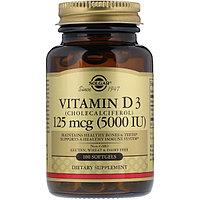 Solgar, Витамин D3 (Cholecalciferol), 5000 МЕ, 100 капсул.