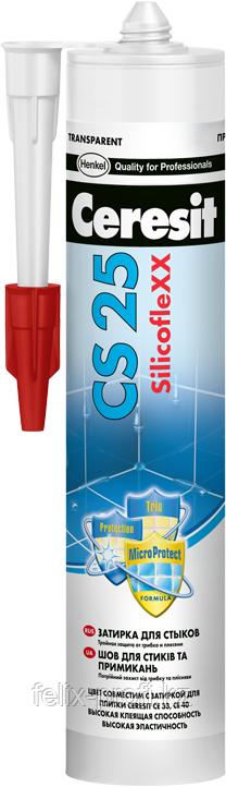 Ceresit CS25 MicroProtect Высокоэластичный силиконовый шов для стыков и примыканий, 280мл. (графит).