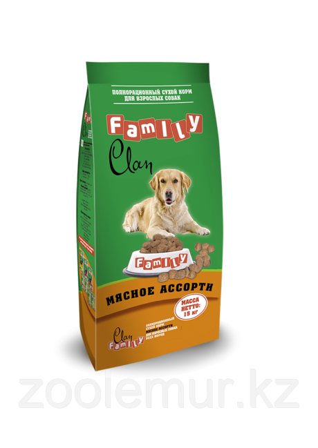 Clan Family сухой корм для собак всех пород Мясное ассорти 15кг