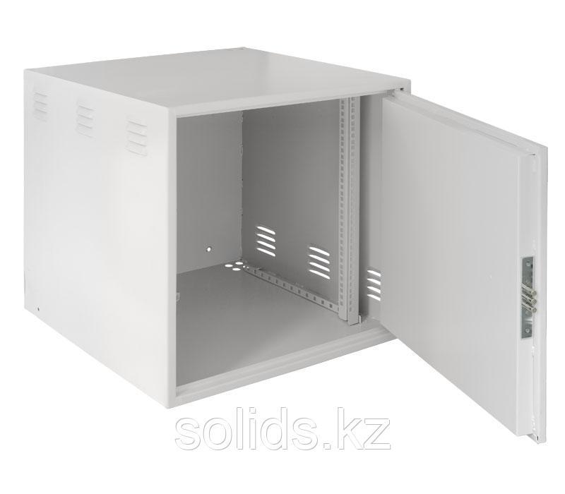 Настенный антивандальный шкаф с дверью на петлях, 9U, Ш600хВ500хГ500мм, серый.