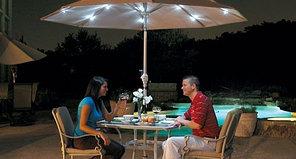 Зонт для летних площадок и кафе с подсветкой (круглый) зеленый, диаметр 2.5 м.