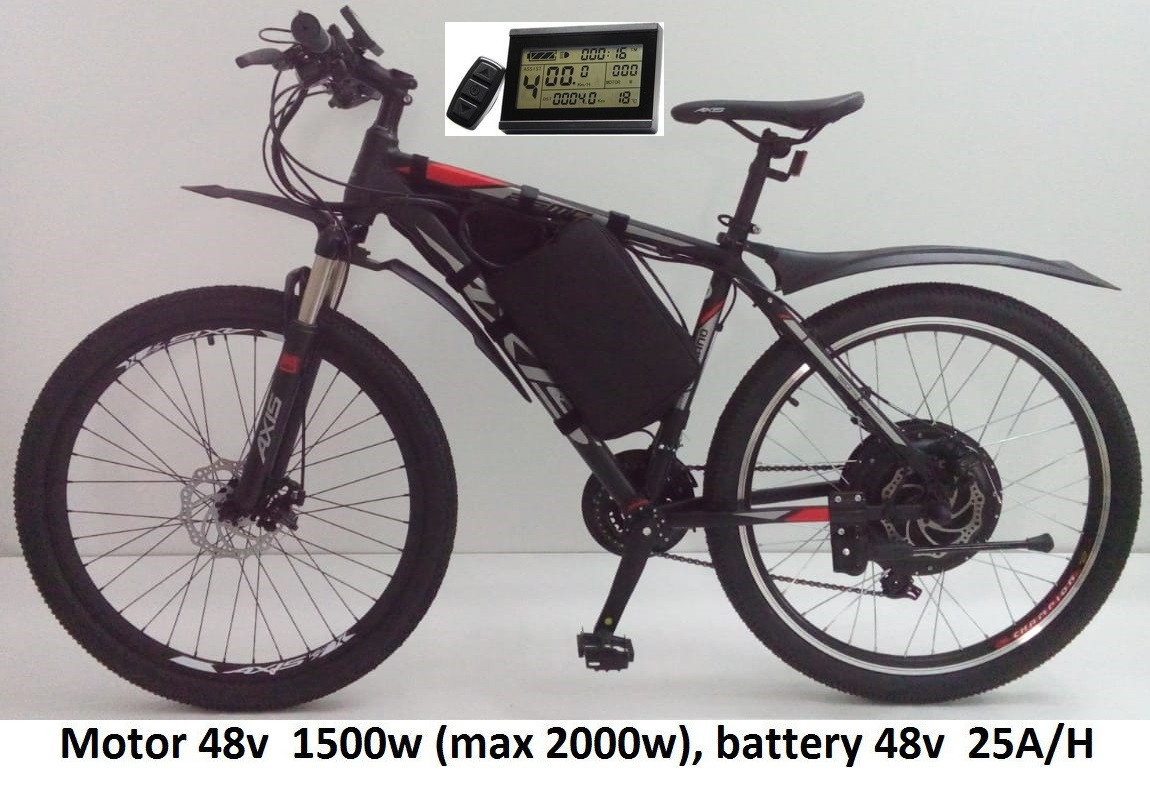 """48v 1500w (max 2000 Вт), аккум. 48v 25 A/H. Электровел. AXIS 26MD 21sp. Колеса 26"""". Рама 19''"""