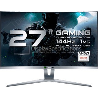 Монитор ЖК 27 GameMax GMX27C144 <1920*1080, LED, 144Hz, 1ms, колонки 3Wx2, изогнутый, hdmi, dvi, displayport