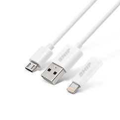Интерфейсный кабель MICRO USB+Apple 8pin SHIP API08MUPWB