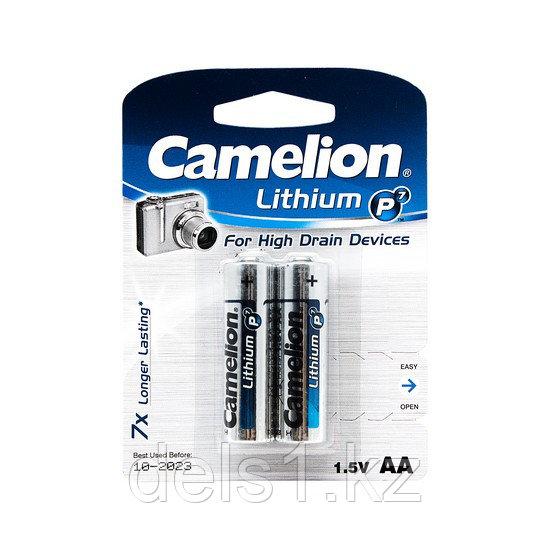 Батарейка, CAMELION, FR6-BP2, Lithium P7, AA, 1.5V, 3000 mAh, 2 шт., Блистер