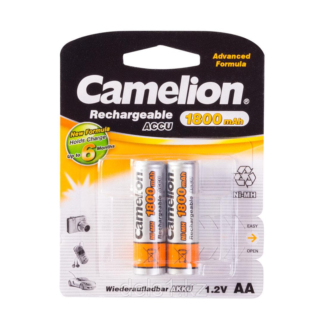 Аккумулятор, CAMELION, NH-AA1800BP2 , Rechargeable, AA, 1.2V, 1800 mAh, 2 шт., Блистер