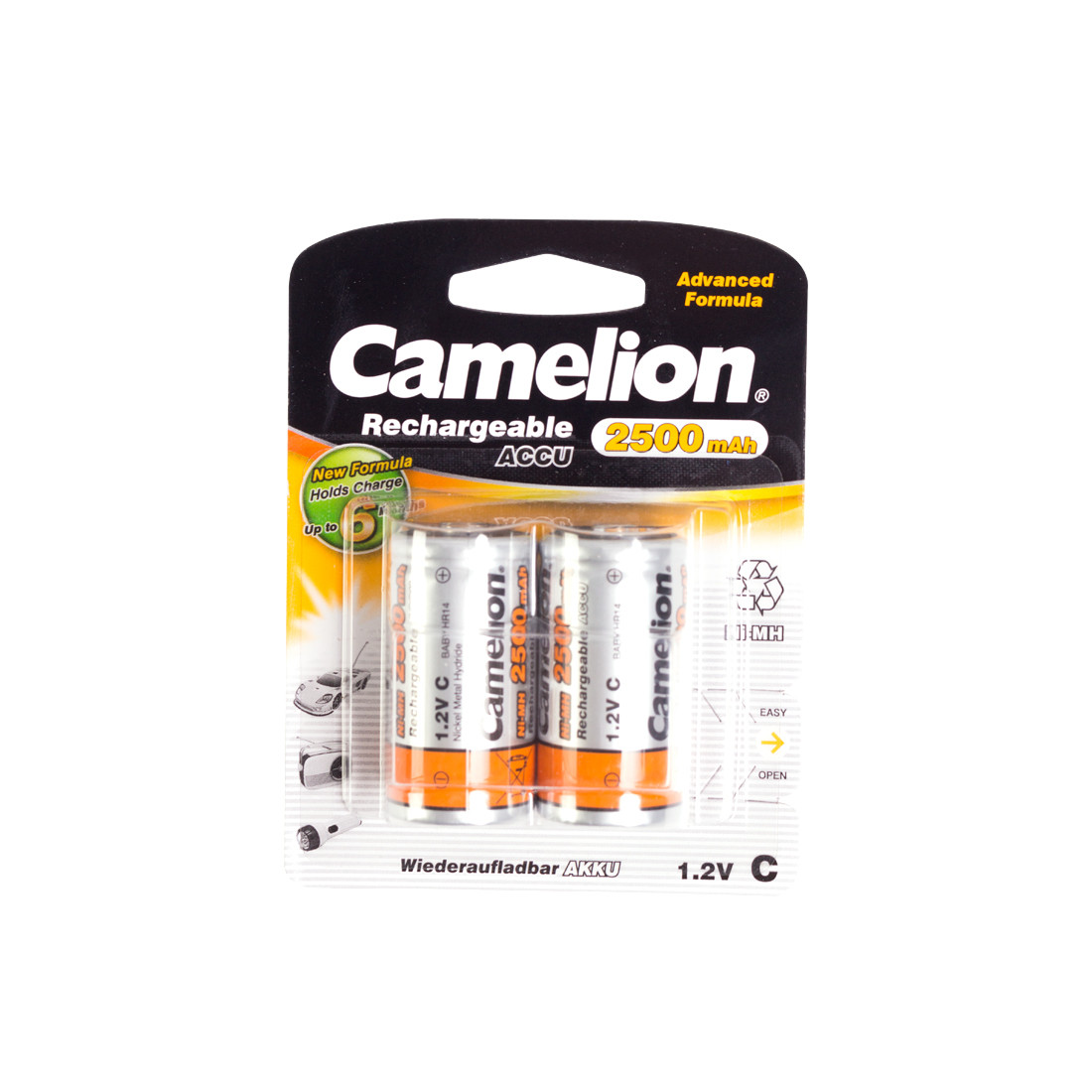 Аккумулятор, CAMELION, NH-C2500BP2, Rechargeable, C, 1.2V, , 2 шт., Блистер