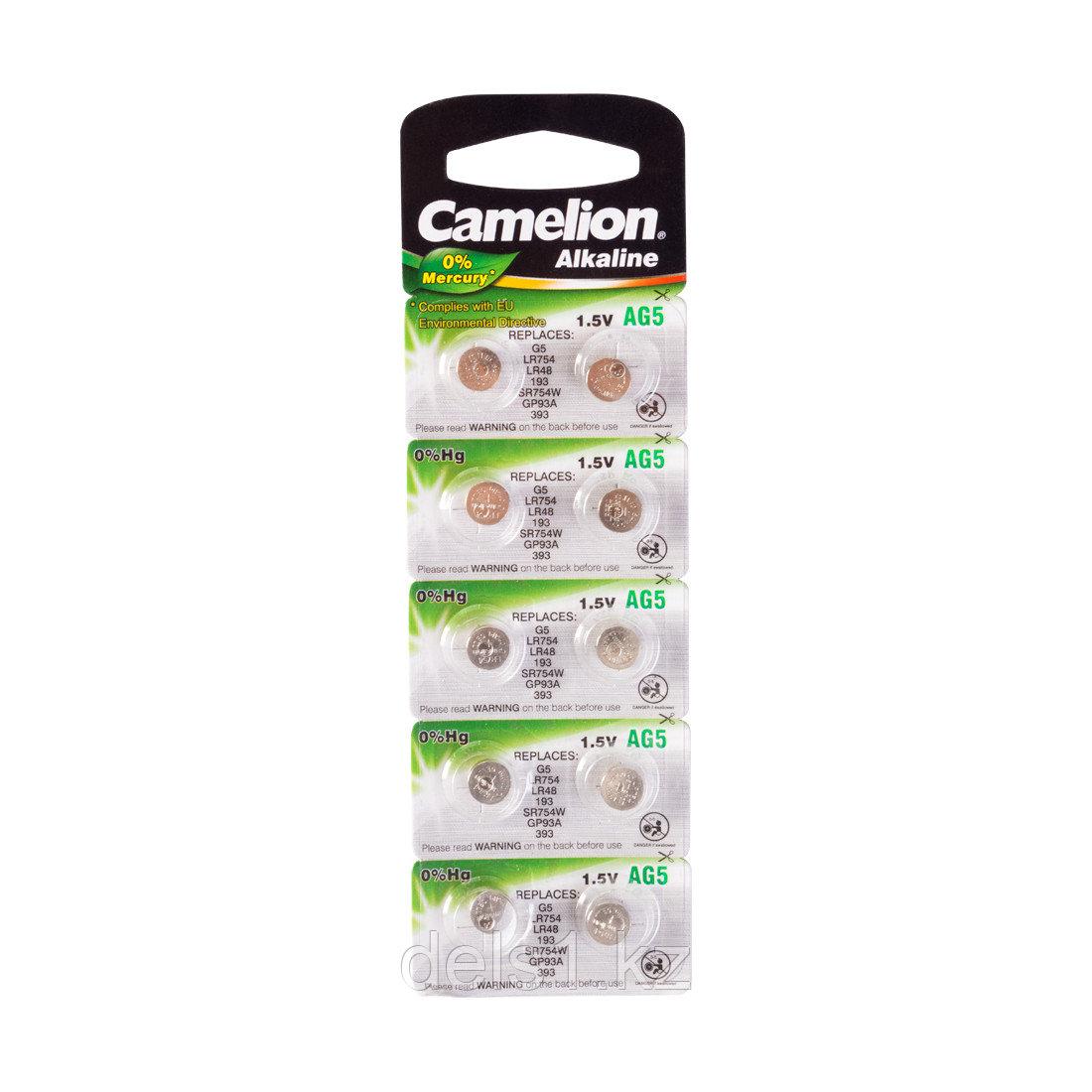 Батарейка, CAMELION, AG5-BP10(0%Hg), Alkaline, AG5, 1.5V, 0% Ртути, 10 шт., Блистер