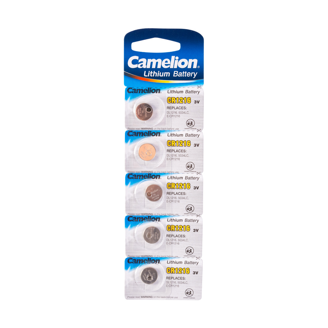 Батарейка, CAMELION, CR1216-BP5 Lithium Battery, CR1216 3V, 220 mAh, 5 шт.