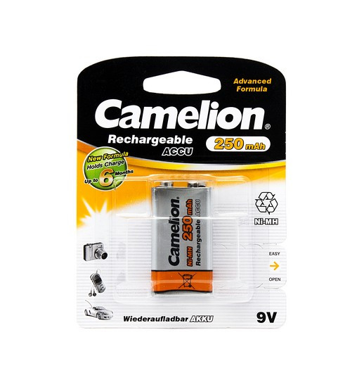 Аккумулятор, CAMELION, NH-9V250BP1, Rechargeable, Lockbox Rechargeable, 6F22(крона), 9V, 250 mAh, 1 шт., Блист