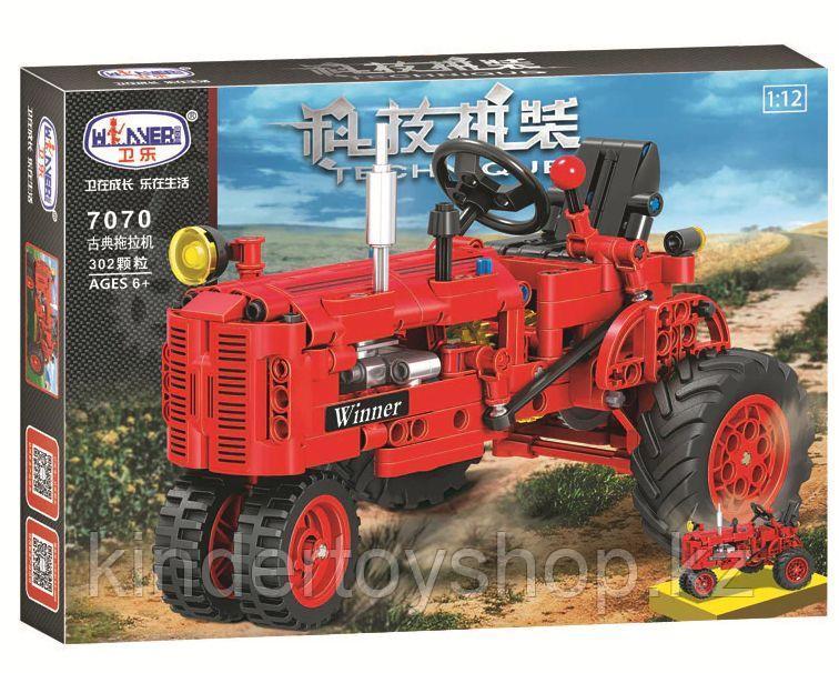 Конструктор Winner 7070 Technic 302 детали классический старый трактор аналог Lego Technic