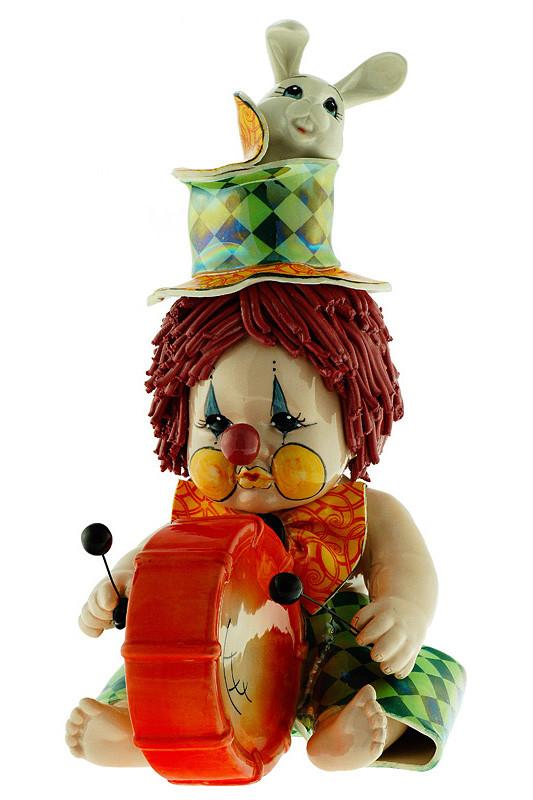 Статуэтка Клоун-барабанщик с кроликом. Керамика, ручная работа, Италия