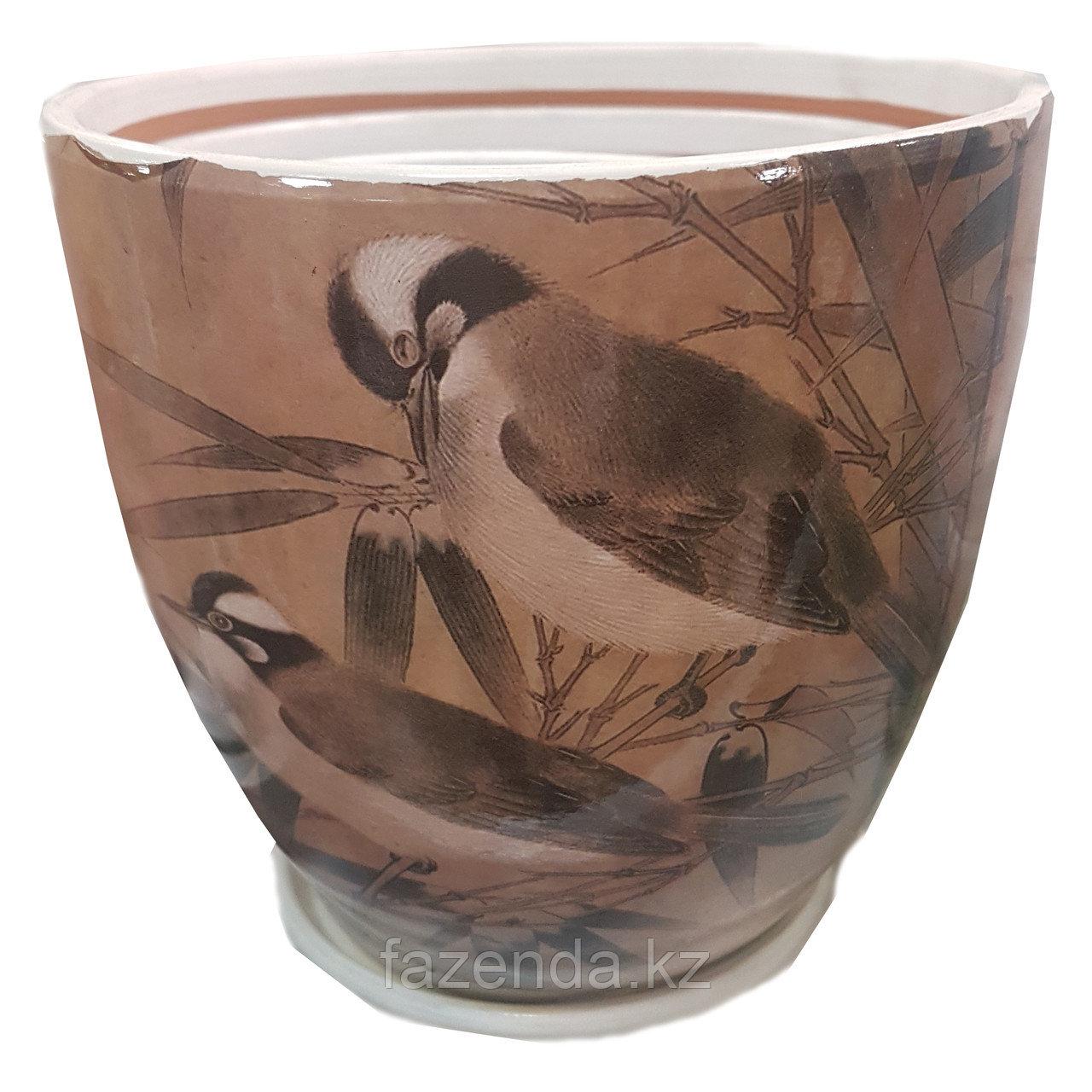 Горшок для цветов керамический Птицы