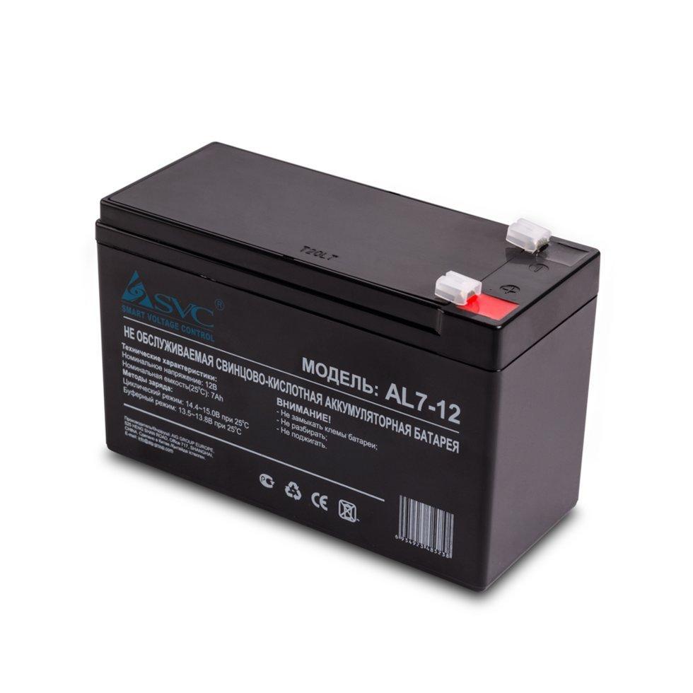 Батарея, SVC, AL7-12 12В 7 Ач, Размер в мм.: 95*151*65 (слаботочка)