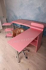 Помощник косметолога. Косметологическая тележка, тумба. Розовый., фото 2