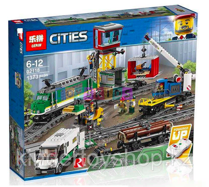 Конструктор Lego City Trains Товарный поезд Lepin 02118 аналог Лего 60198