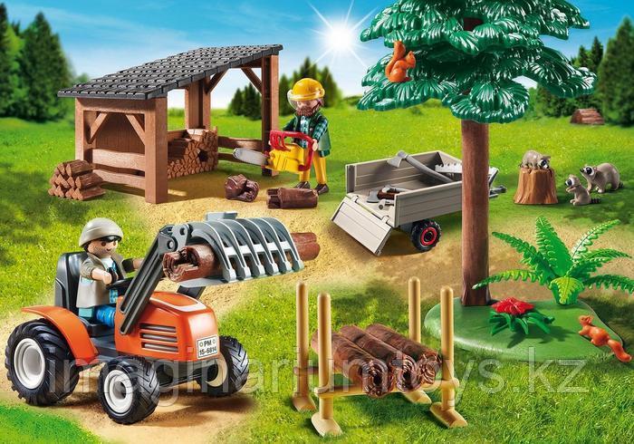 Playmobil конструктор для мальчиков «Лесопилка с трактором»