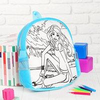 Рюкзак с рисунком под роспись 'Девочка'  фломастеры 5 цветов, цвета МИКС