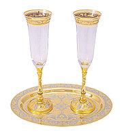 """Набор для шампанского """"Сладкая жизнь"""" ( тарель, 2 фужера ) - Купить в Казахстане"""