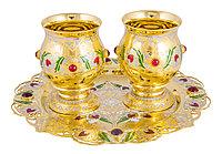 """Набор для напитков """"Праздник Граната""""  ( 2 бокала,  поднос )  Златоуст"""