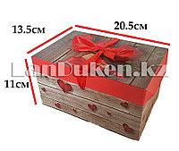 """Подарочная упаковка """"розы и сердечки"""" маленькая (11 х 13,5 х 20,5 см)"""