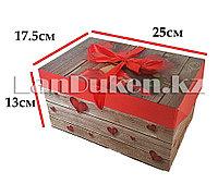 "Подарочная упаковка ""розы и сердечки"" средняя (13 х 17,5 х 25 см)"