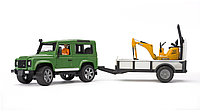 Bruder Land Rover Defender with Trailer, JCB