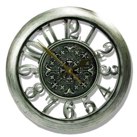 Часы настенные с прозрачным циферблатом, диаметр 27.5 см (Серебряный)
