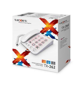 Телефон проводной Texet TX-262, Набор: Тональный, импульсный, Цвет: Серый, Упаковка: Картонная коробка