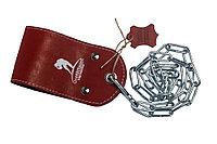 Ремешок кожаный для отягощения на пояс красный