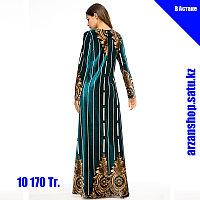 Темно-зеленое бархатное платье, фото 1