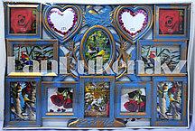 Фоторамка Family на 12 фото общий размер 64.5 х 43.5 см цвет голубой с платиной