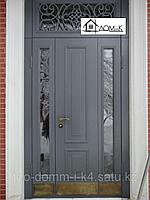 Дверь входная с фрамугой и стеклом