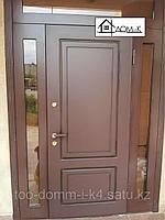Дверь входная двустворчатая со стеклом модерн
