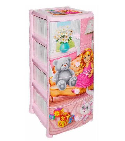 Комод пластиковый детский «Детские сны» [4 секции] (Кукла)