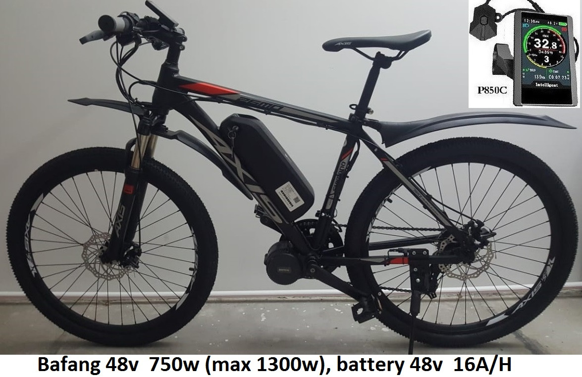 "48v 750w (max 1300w) BAFANG 8FUN BBS02, аккум. Li-ion 48v 16 A/H. Электровел. AXIS 26 MD 21sp. Рама 19""."