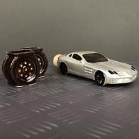 Подарочный набор Коньячный Машина купе белая 3 предмета 100 мл 2 рюмки