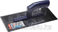 Гладилка ЗУБР нержавеющая с пластиковой ручкой, зубчатая, 4х4мм