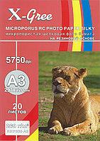Фотобумага X-GREE микропористая шёлковая (Silky) на резиновой основе 260гр А3