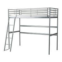 Кровать-чердак каркас СВЭРТА серебристый ИКЕА, IKEA