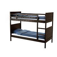 Кровать-каркас 2х-ярусный НОРДАЛЬ, черно-коричневый, ИКЕА, IKEA, фото 1